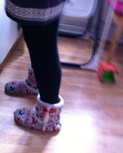 """I like your Christmas shoes"" my 3 yr old friend told me.  I didn't admit I've been wearing them all year."